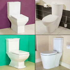 Ceramic WC Toilet Bathroom Modern Cloakroom Soft Close Seat Close Coupled Pan