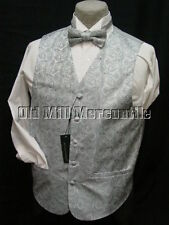 mens vest waistcoat gray grey brocade with 2 ties bow & conventional sizes S-XXL