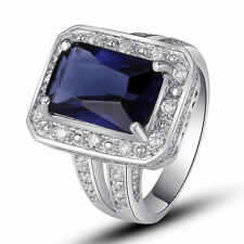 Noble Jewelry Sapphire Quartz White Topaz Gemstone Silver Ring Size 7 8 9 10