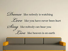 Dance Like Nobody Is Watching Wall Art Text Quote Sticker 3 Sizes 30 Colours