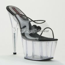LUCIOUS PX Black Leather Heart Sexy Clear Platform Stripper High Heels Hot Shoes