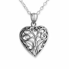 925 Sterling Silver Vintage Openwork Heart Charm Necklace #Azaggi N0131