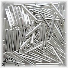 TUBE CAPSULE METAL SPACER BEADS 11x2mm SILVER PLATED 100pc JEWELRY FINDINGS