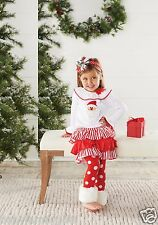 Mud Pie Christmas Santa Baby Girl Santa Fur Cuff Skirt Set 111A034