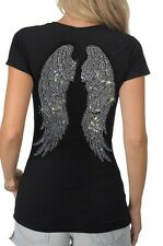 Women's Full Back Rhinestone Jeweled Bright Studded Angel Wings T-Shirt