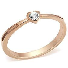 Dainty Rose Gold Heart Shaped Austrian Crystal Solitaire Women's Ring
