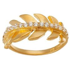 NEW 14K GOLD VERMEIL Eternity Leaf Cubic Zirconia Band Ring-Bridal 925