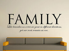 Family Decorative Wall Art Sticker Text 3 Sizes 30 Colours