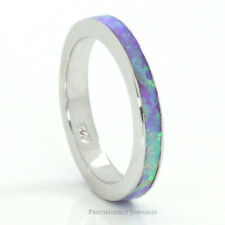 Stackable Purple Orchid Fire Opal Sterling Silver Eternity Band Ring 3MM