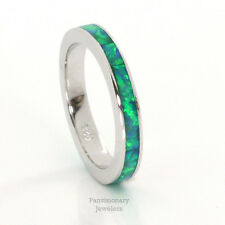 Stackable Opal Sterling Silver Eternity Band Ring Green Fire 3MM half sizes