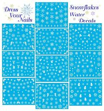Snowflakes Water Decal Transfer Nail Stickers - Christmas White  Elsa - Frozen