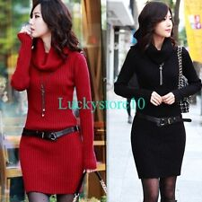 New Women Long Sleeve Cowl Neck Thick Knitted Warm Sweater Slim Fit Mini Dress