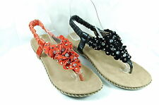 Women's Flower Sandals- with Shiny Stones Ankle Strap Thongs Shoes SIZE AUS 5~10