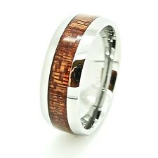 Unisex 8mm Wood Grain Inlay Domed Tungsten Carbide Fashion Ring US Sizes 4-15