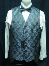 mens vest waistcoat dark gray grey brocade with 2 ties bow and conventional M-2X