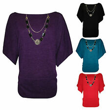 H3A Women's 3/4 Sleeve Knitted Batwing Jumper / Top Free Necklace PLUS SIZE