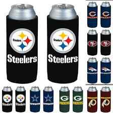 NFL Football Ultra Slim Can Drink Beer Holder Koozie 2-Pk - Pick Your Team!