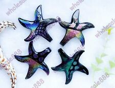 Murano Lampwork Glass Necklace Pendants Dichroic Foil Starfish Handmade Gifts