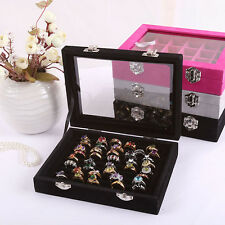 Jewelry Display Glass Cover Ring Display Sands Slot Holder Box Velvet 6 Colors