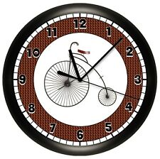 HIGH WHEEL BICYCLE CLOCK WALL OLD FASHIONED BIKE PENNY FARTHING GIFT CYCLE