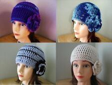 BLACK Red GREY Gray BLUE Cream HANDMADE Crochet CLOCHE HATs & ROSE PiNs Knit