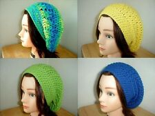 BANANA Berry YELLOW Olive Green BLUE Handmade Crochet SLOUCHY Beret Tam HAT Knit