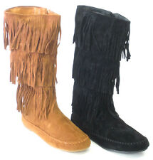 ***SALE*** LADIES COCO L9331 FRINGED DETAIL FLAT MID CALF CASUAL BOOT ZIP UP