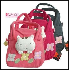 Cotton Handbag Shopping Bag for Girl Woman LUCKY CAT & FLOWER