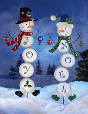 JOY or NOEL Holiday Snowman Lawn Yard Stake Garden Christmas Home Decoration New