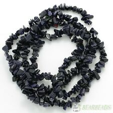 Natural Blue Sand Gemstone 5-8mm Chip Nugget Loose Spacer Beads Necklace 35""