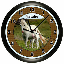 HORSE WALL CLOCK COLT PERSONALIZED GIRLS BEDROOM DECOR GIFT CUTE PONY ADD NAME