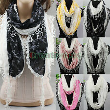 New Embroidery Lace Stitching Floral Scarf Shawl Trim Tassel Infinity Cowl Scarf