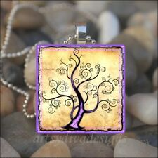 """WHIMSICAL TREE"" CURLY BRANCH POETRY TREE GLASS TILE PENDANT NECKLACE KEYRING"