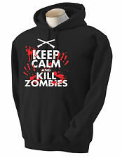 ONE NEW WITH TAG Keep Calm and Kill Zombies ZOMBIE GUNS BLOODY Hoodie SWEATSHIRT