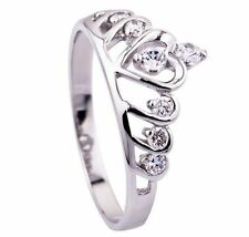 Sterling Silver Solid 925 Tiara Crown Ring Princess Band CZ Heart Love Ring