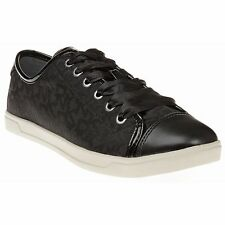 New Womens DKNY Black Blair Textile Trainers Plimsolls Lace Up
