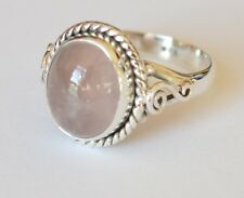 925 Sterling Silver Ethnic Ring 11x9mm Rose Quartz Handmade : Blush
