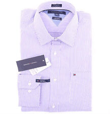 Tommy Hilfiger Men Long Sleeve Button Down Stripe Purple Casual Shirt - $0 Ship