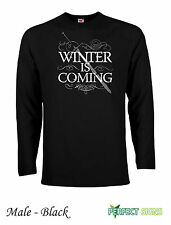 WINTER IS COMING STARK GAME OF THRONES Long Sleeve T-Shirts  S-XXL - Black