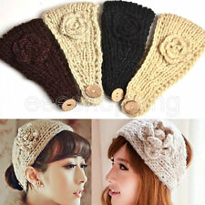 Women Camellia Flower Warm Knitted Hair Accessories Wide Hair Band Headband S142