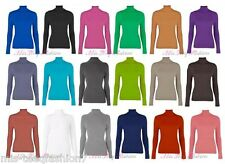 Womens Ribbed Polo Neck Long Sleeve Stretch T Shirt Top Jumper