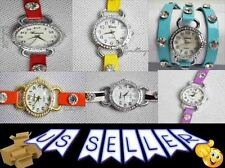 Ladies Wrap Around Wrist Watches CZ / Rhinestone Band and Face
