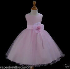 PINK PAGEANT PRINCESS V-SHAPED WEDDING CHILD FLOWER GIRL DRESS 12-18M 2 4 6 8 10