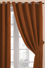 Burnt Orange Soft Touch Faux Suede Eyelet / Ring Top Heavy Weight Lined Curtains