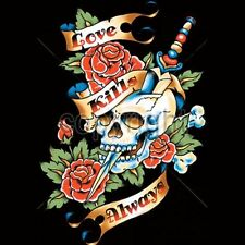 Love Kills Slowly Skull T Shirt  You Choose Style, Size, Color Tattoo Tee  10154