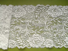 ~TOP QUALITY PRETTY IVORY STRETCH  SCALLOPED FLORAL Lace 17cm wd  BRIDE/LINGERIE