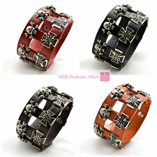 New Leather Fashion Bracelet Skull & Cross Wristband Bangle Punk Rocker Unisex
