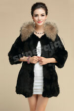 100% Real Genuine Rabbit Fur Coat Raccoon Collar Coat Jacket Vintage 8 Colors