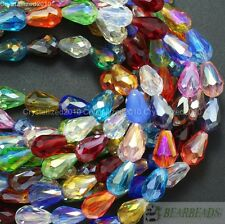 50Pcs Top Czech Crystal Faceted Teardrop Spacer Beads 8mm x 11mm 10mm x 15mm