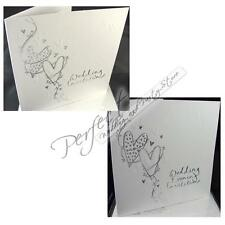 Wedding Day and Evening Reception Invitations Embossed Design